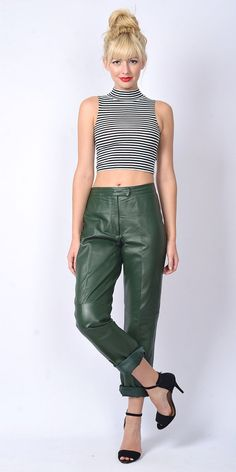 Vtg 80s 90s Green Leather Pants Trousers Biker by thekissingtree