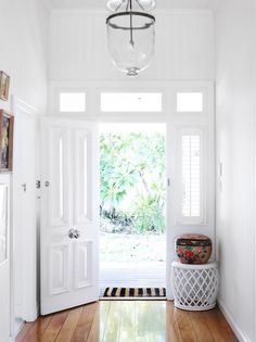 Will you create good feng shui for your house if you paint your front door in gray color? How about the feng shui of white color for your front door? Small Entrance, Front Door Entrance, House Entrance, Front Door Decor, Entrance Ideas, Front Entry, Entryway Ideas, Front Entrances, Door Ideas