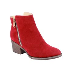 Women's Reneeze Pama-01 Stacked Heel Ankle Boot - Red PU Ankle Boots ($42) ❤ liked on Polyvore featuring shoes, boots, ankle booties, red, bootie boots, pointed toe booties, pointy toe booties, ankle boots and side zipper boots