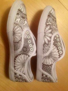 Zentangle Sneakers ...first attempt. #zentangle #shoes zentangle shoes sneakers #sharpie
