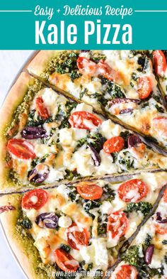 Learn how to make the BEST Kale Pizza! This delicious, easy Kale Pesto Pizza Recipe is made with simple, fresh ingredients: Homemade Kale Pesto and a garlicky sautéed Kale Topping, plus Tomatoes, Olives, Mozzarella, and Feta Cheese. If you've never had Kale on Pizza before, then you need to try this scrumptious Green Pizza with Pesto. This tasty Vegetarian Pizza is sure to become a favorite Veggie Pizza Recipe, especially if you're a Kale Lover!   Hello Little Home Veggie Recipes Healthy, Best Vegetarian Recipes, Kale Recipes, Easy Delicious Recipes, Pizza Recipes, Tasty, Kale Pizza, Vegetarian Pizza, Pesto Pizza