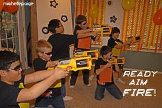 michelle paige: Nerf Gun Party! The Dodging Drill was when my AH (Awesome Husband) shot the battery operated Tommy20 Gun (NERF-type automatic gun) at each kid while they tried to dodge the bullets. This was quite the sight to see!