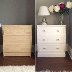 Ikea rast hack. Bedside table. DIY. Farrow and Ball. White Company