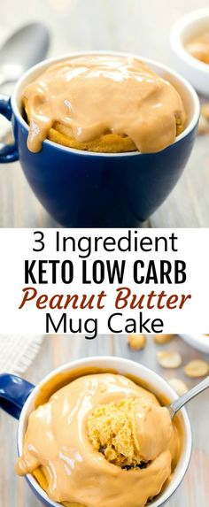 3 Ingredient Keto Low Carb Peanut Butter Mug Cake. A single serving microwave cake that is just three ingredients and is keto-friendly, gluten free and low carb.