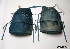 Women's indigo-dyed pocket hoops c. 1750s-90s - linen fabric and baleen/whalebone for shaping.