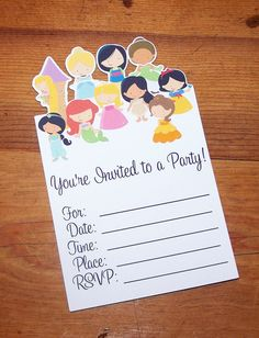 Princess Party - Set of 8 Disney Princess invitations by The Birthday House. $8.00, via Etsy.