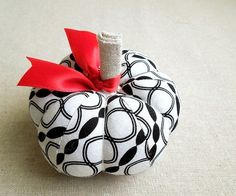 Black and White Geometric Print Fabric Pumpkin by SeaPinks on Etsy, $10.00