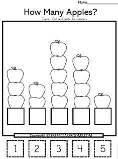 Free Apple Numbers Cut Paste Math Worksheets - Numbers 1 to 5 - Free4Classrooms