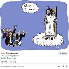 """So reagieren Zeichner aus aller Welt auf den Tod ihrer Kollegen beim Satiremagazin Charlie Hebdo"""": """"Oh nein, nicht die..."""", sagt Gott in der Zeichnung von Tommy, als er """"Die Edelfedern von Charlie Hebdo"""" sieht. Mehr dazu hier: http://www.nachrichten.at/nachrichten/weltspiegel/Charlie-Hebdo-als-Zeitschrift-der-Ueberlebenden;art17,1598439 (Bild: Tommydessin)"""
