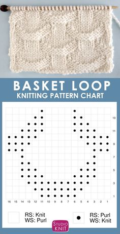Knitting Chart for the Basket Loop Stitch. It is an easy pattern with an illusion of interwoven rings atop a background of vertical pillars. patterns for beginners Basket Loop Stitch Knitting Pattern Knitting Stiches, Knitting Charts, Easy Knitting, Knitting For Beginners, Loom Knitting, Knit Stitches, Knitting Machine, Knitting Designs, Knitting Projects