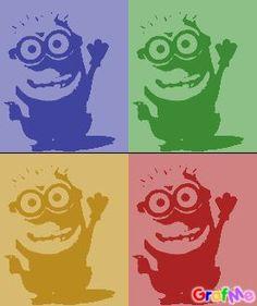 Pop art minion bleu,vert, jaune,rouge .
