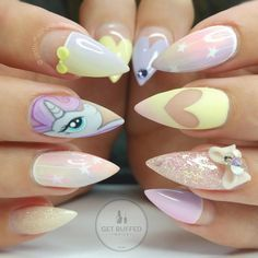 Best Acrylic Nails Part 2 Gorgeous Nails, Love Nails, Pretty Nails, Fun Nails, Kawaii Nail Art, Cute Nail Art, Acryl Nails, Unicorn Nails, Disney Nails