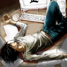 by 稚代 - Death Note - L... I think i'm gonna put a tear :'( every time I see him 'cause this seriously HURTS