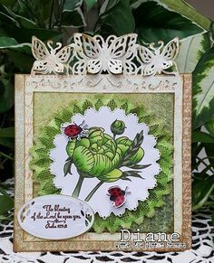 Encouragement card designed by Diane Shull for Little Blue Button Stamps, stamp is Peony.