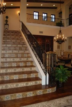 Amaretti Collection by StoneImpressions is an old world design featuring earthy colors and coordinating accents and listellos. Tiled Staircase, Tile Stairs, Modern Staircase, Staircase Design, Mosaic Stairs, Staircase Remodel, Rustic Italian, Italian Home, Spanish Style Homes