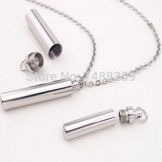Small Stainless Steel Silver Tube Memorial Cremation Ashes Urn Pendant Pill Holder Chain Keepsake Necklace Unisex Men Women Gift