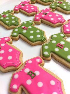 Baby onesie shower cookie Sunshine Bakes baked goods cookies sugar cookies favor gift pink green blue mom polka dot baby etsy girl boy gender