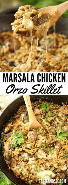 Marsala #Chicken Orzo Skillet - with butter, mushrooms, chicken sausage, orzo pasta, sweet Marsala wine, chicken stock. Ready in less than 30 minutes! https://tasteandsee.com