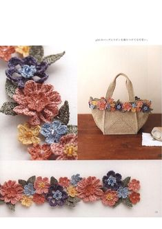 "Photo from album ""Asahi Original. Floral Designs on Yandex. Japanese Crochet Patterns, Felt Patterns, Craft Patterns, Flower Patterns, Textile Patterns, Crochet Motif, Crochet Designs, Crochet Flowers, Crochet Shirt"