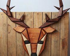 wooden reindeer wall decor Poligon