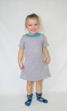 Girls knitted dress  100 merino wool  Grey and blue by Leiladelle, £35.00