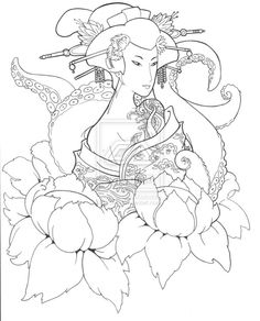 Geisha and Octupus - Inked by Trissa
