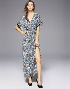 #VIPme Sexy V-neck Short Trumpet Sleeve Wasp Waisted Maxi Dress ❤ Get more outfit ideas and style inspiration from fashion designers at VIPme.com