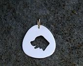 Labrador, Smiling, in a 14k Yellow Gold Pendant, Man's Best Friend, Handmade in Maine