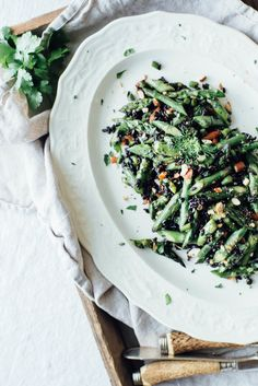 Cilantro Black Rice w/ Roasted Garlic Scapes + Asparagus. #vegan #glutenfree #soyfree