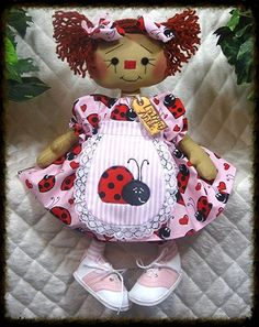 "~Primitive Raggedy Ann PATTERN ""LADYBUG ANNIE"" 16"" doll!~PATTERN #286 in Dolls & Bears, Dolls, Doll Making & Repair 