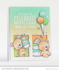 Beary Special Birthday Stamp Set and Die-namics, Gift Box Cover-Up Die-namics, Big Birthday Sentiments Stamp Set - Melania Deasy  #mftstamps