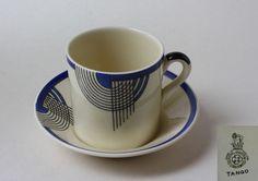 ROYAL DOULTON, TANGO 05564, COFFEE CUP AND SAUCER, BLUE / BLACK ART DECO DESIGN