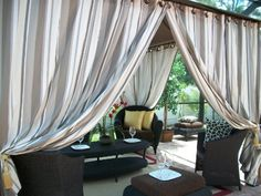 Grommets take a different turn on these panels. Outdoor Shade, Indoor Outdoor Living, Cool Ties, Draping, Tie Backs, Outdoor Gardens, New Homes, Shades, Outdoors