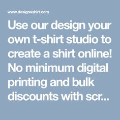 Use our design your own t-shirt studio to create a shirt online! No minimum digital printing and bulk discounts with screen printing. Graduation Shirts For Family, Family Reunion Shirts, Breast Cancer Shirts, Design Your Own Shirt, Create Shirts, Construction Logo, Vacation Shirts, Funny Tees, Colorful Shirts