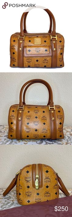 57a923e91fff MCM Brown Boston Hand Bag Authentic Preowned bag in good used condition.  The leather has