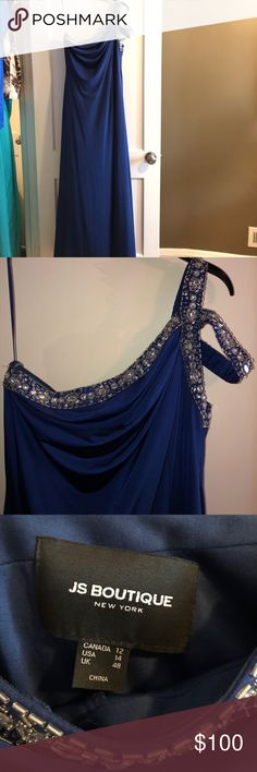 Royal Blue Gown Size 14 Royal Blue beaded one shoulder gown JS Boutique  Size 14 Worn once to military ball JS Boutique Dresses One Shoulder