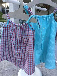 Two dresses made from men's shirts. Turquoise and white stripe and red, turquoise and white plaid. Daddy's Button Shirt on etsy