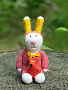 Игрушки животные, ручной работы. Ярмарка Мастеров - ручная работа. Купить Дорогие друзья (игрушки из шерсти - заяц и лиса). Handmade.