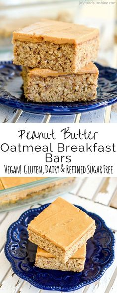 These Peanut Butter Oatmeal Breakfast Bars are an easy, healthy & filling make-ahead breakfast for busy mornings! They are loaded with fiber, protein & omega-3s to keep you full all morning long! Plus they're gluten-free, dairy-free, refined sugar free and vegan!