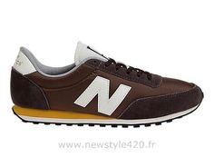 New Balance 410 Chaussures Unisexe Femme/Homme Classiques Brun Blanche Zinnia