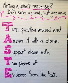 Anchor chart for short response writing anchor charts 5th Grade Writing, 6th Grade Ela, 4th Grade Reading, Third Grade, Fourth Grade, Sixth Grade, Grade 3, Middle School Ela, Middle School English