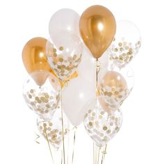 White And Gold Confetti Balloons | Bubblegum Balloons | Party Shop Uk
