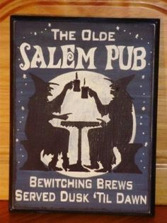 Primitive Witches Sign Olde Salem Pub tavern by Halloweenwhimsy, $24.00