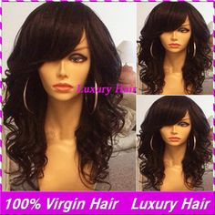 Online Shop 100brazilian human hair wig full bangs loose wave 150density virgin hair glueless full lace wigs with baby hair for black women |Aliexpress Mobile