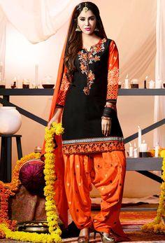 Orange,Black Cotton Patiala Suit Salwar Kameez #patialasuit #punjabisuit #phulkari #shalwarkameez #shalwar  #salwarsuits #designer #ceremonial #suit #suitsonline #stylish #womenwear #womenclothing #nikvik  #usa #designer #australia #canada #malaysia #UAE #freeshipping. Sign up and get USD100 worth vouchers.