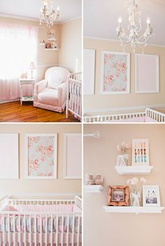 Pink, cream and white crib bedding | Heart Pears: Pink and White Girl Nursery