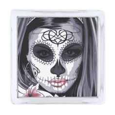 #beauty - #Mask Carnival Day of the Dead Floral Woman Silver Finish Lapel Pin