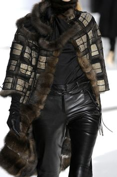 Chado Ralph Rucci. Love this mix of leather, fur, pattern. Feels vintage, yet fresh, new.