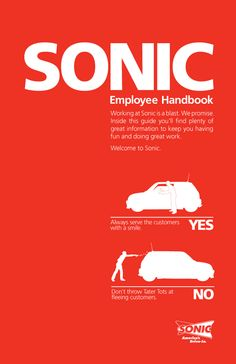 Sonic Employee Handbook Cover by Jenkin Hammond, via Behance