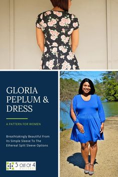 Our Gloria peplum and dress PDF Pattern is breathtakingly beautiful from its simple sleeve and skater skirt to the ethereal split sleeve and hi lo skirt options. This is a flattering silhouette for all body types! Skater Skirt Outfit, Skirt Outfits, Peplum Dresses, Skater Skirts, Peplum Tops, Shift Dresses, Pdf Sewing Patterns, Clothing Patterns, Dress Patterns